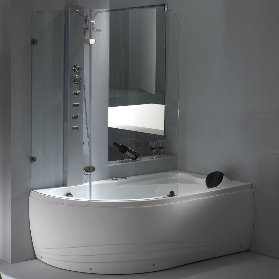 2-in-1 EAGO Whirlpool Tub with Shower Enclosure & Panel