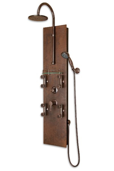 Pulse 1016 Mojave Shower Column - Hammered Copper With Oil Rubbed Bronze Fixtures