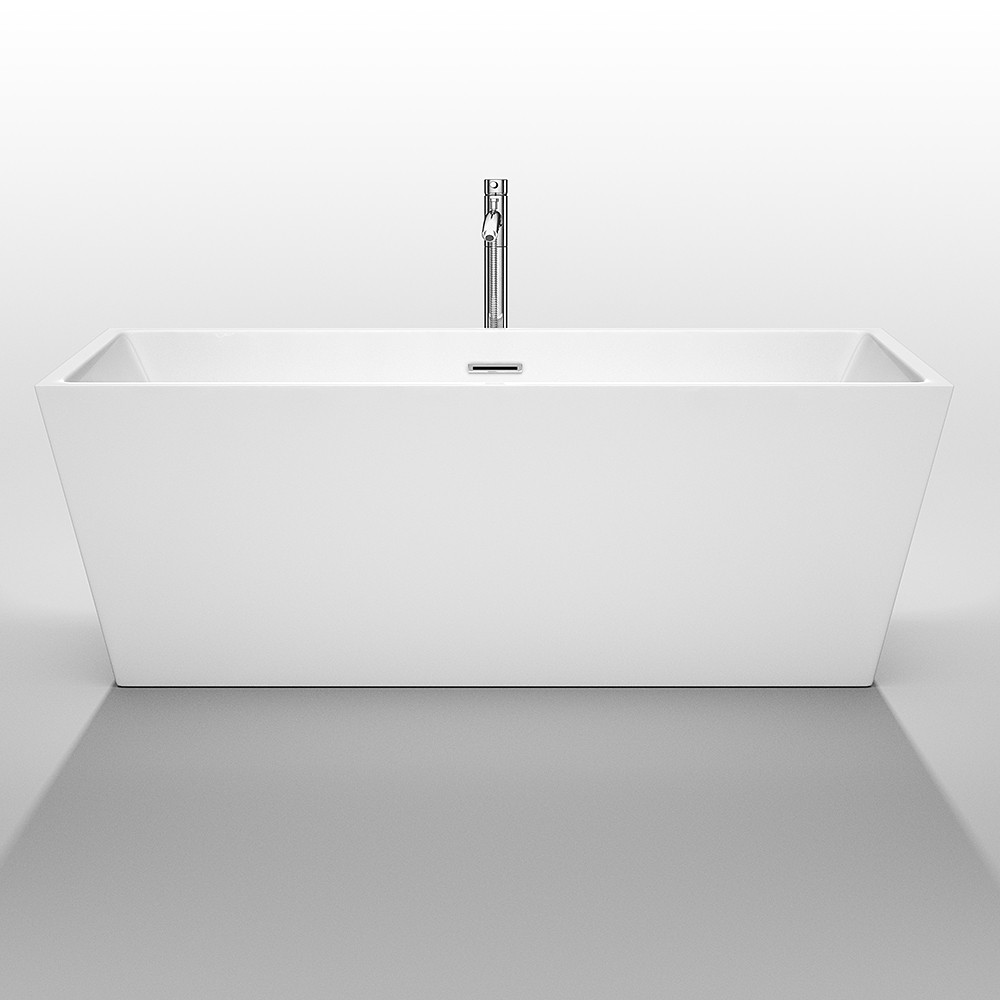 Wyndham WCBTK151467 Sara White  67 in. Soaking Bathtub with Chrome Drain