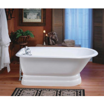 """Cheviot 2119-WW-8 Cast Iron Bathtub with Flat Area Pre-drilled Holes at 6"""""""