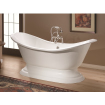 """Cheviot 2153-WW-6 Pedestal Bathtub with Faucet Holes Drilled at 6"""""""