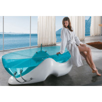 Clear Blue Acrylic Free Standing Whirlpool Bathtub from the Future