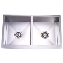 Gourmetier KUF332010DBN Denver Double Bowl Kitchen Sink in Satin Nickel