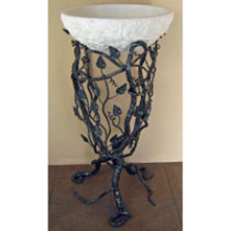 Quiescence ST-AT Wrought Iron Floral Aspen Bathroom Sink Pedestal