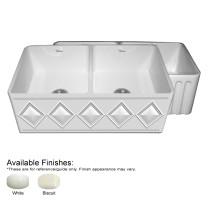 Whitehaus WHDI3318-FLD Double Bowl Fireclay Sink With A Diamon Design