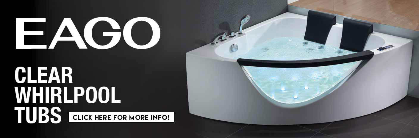 EAGO Clear Whirlpool Bathtubs Take it to a Whole New Level