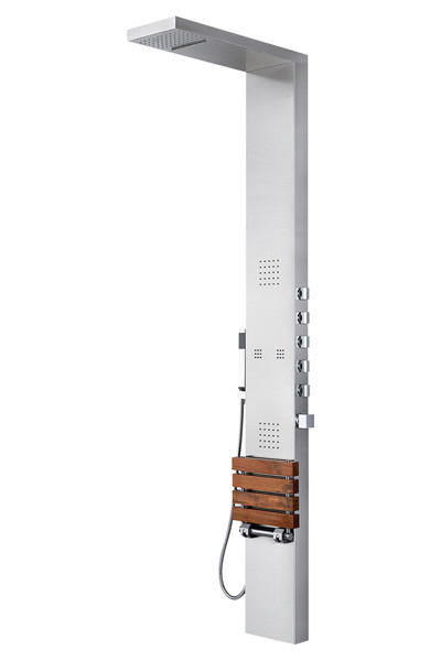Pulse 1035 Oahu Shower Column - Matte Stainless Steel With Chrome Fixtures And Teak Seat