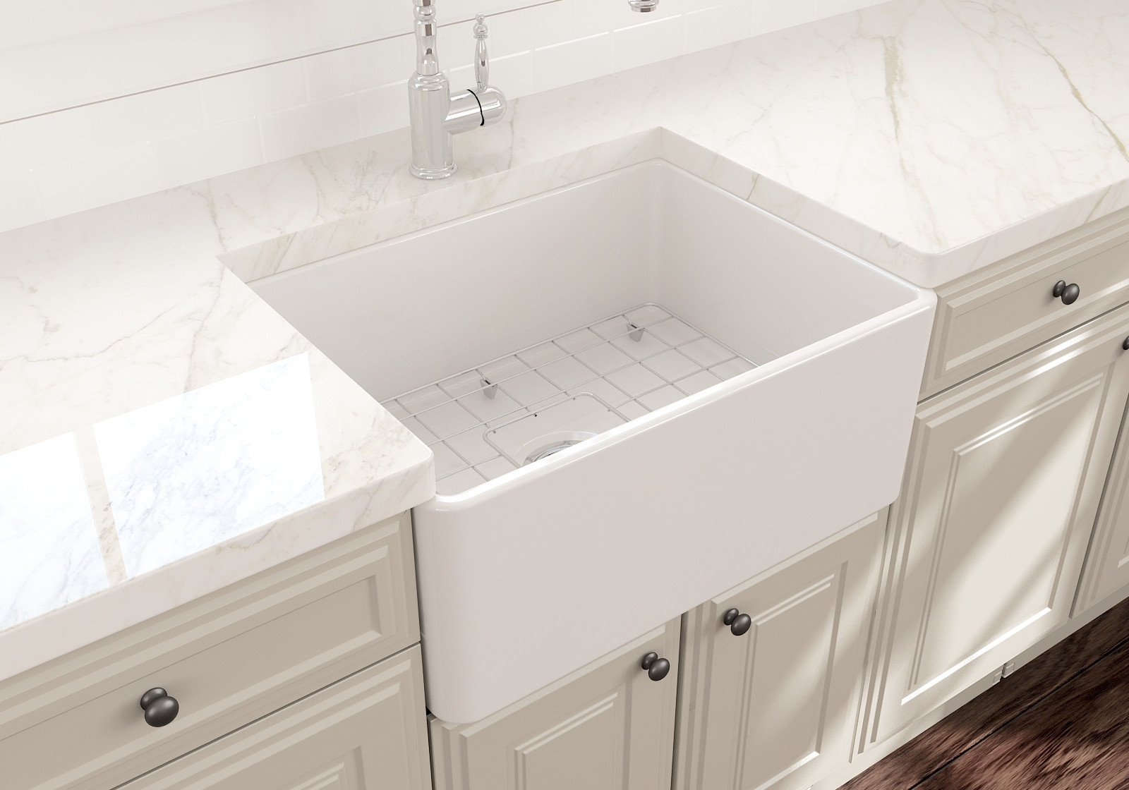 BOCCHI 1137-001-0120 Classico Single Kitchen Sink w/ Bottom Grid In White