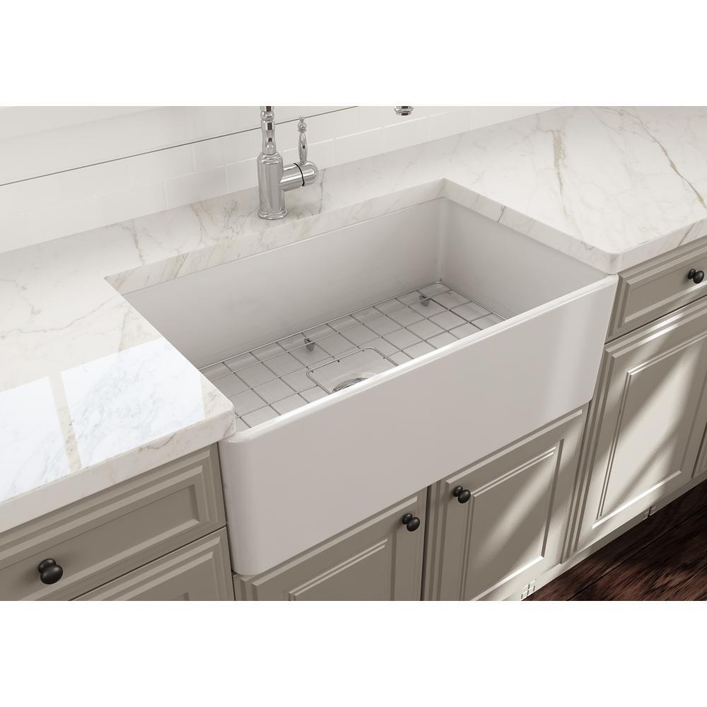 BOCCHI 1138-001-0120 Classico Single Kitchen Sink w/ Bottom Grid In White
