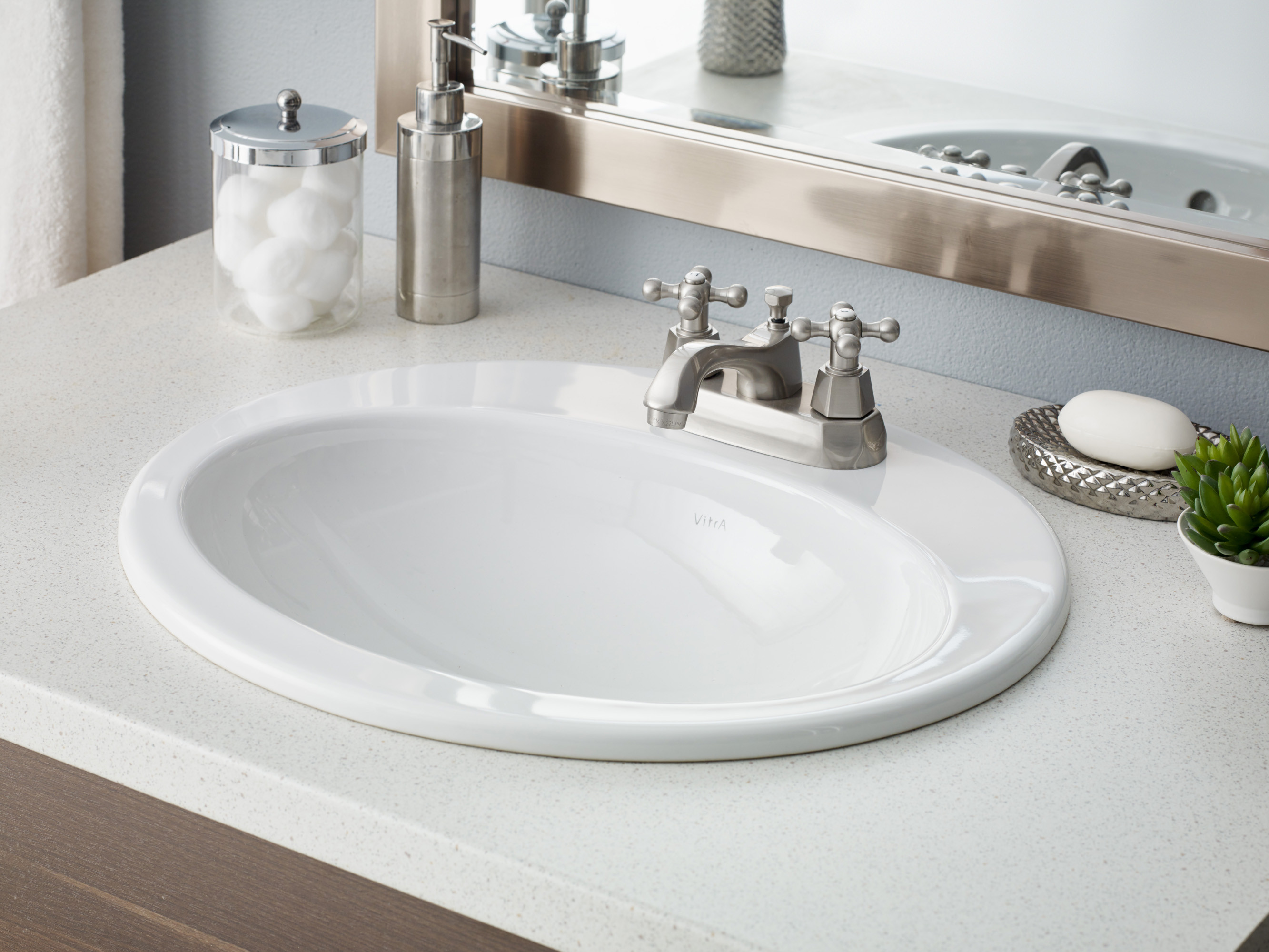Cheviot 1168-WH-1 Aria Drop In Single Bowl Bathroom Basin with Single Faucet Hole