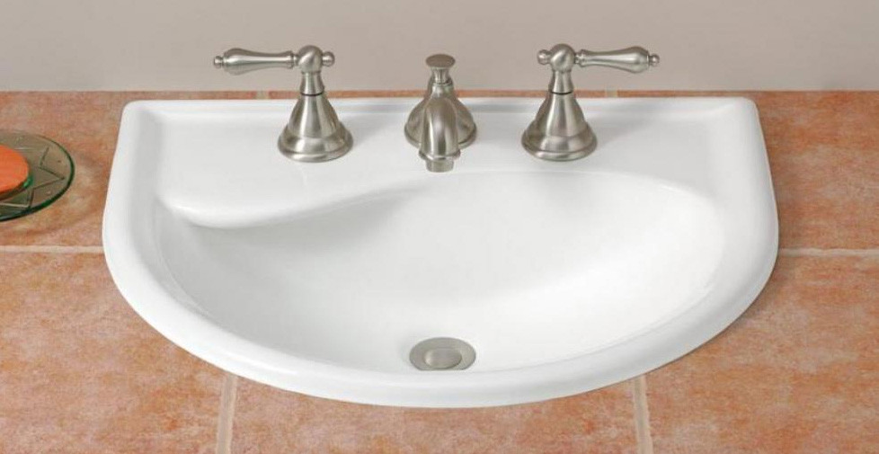 """Cheviot 1177-WH-4 Calypso Drop-In Basin with 4"""" Faucet Drilling in White"""