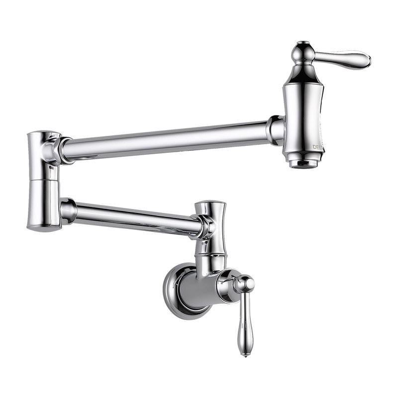 Pot Filler Faucet Wall Mount In Polished Chrome