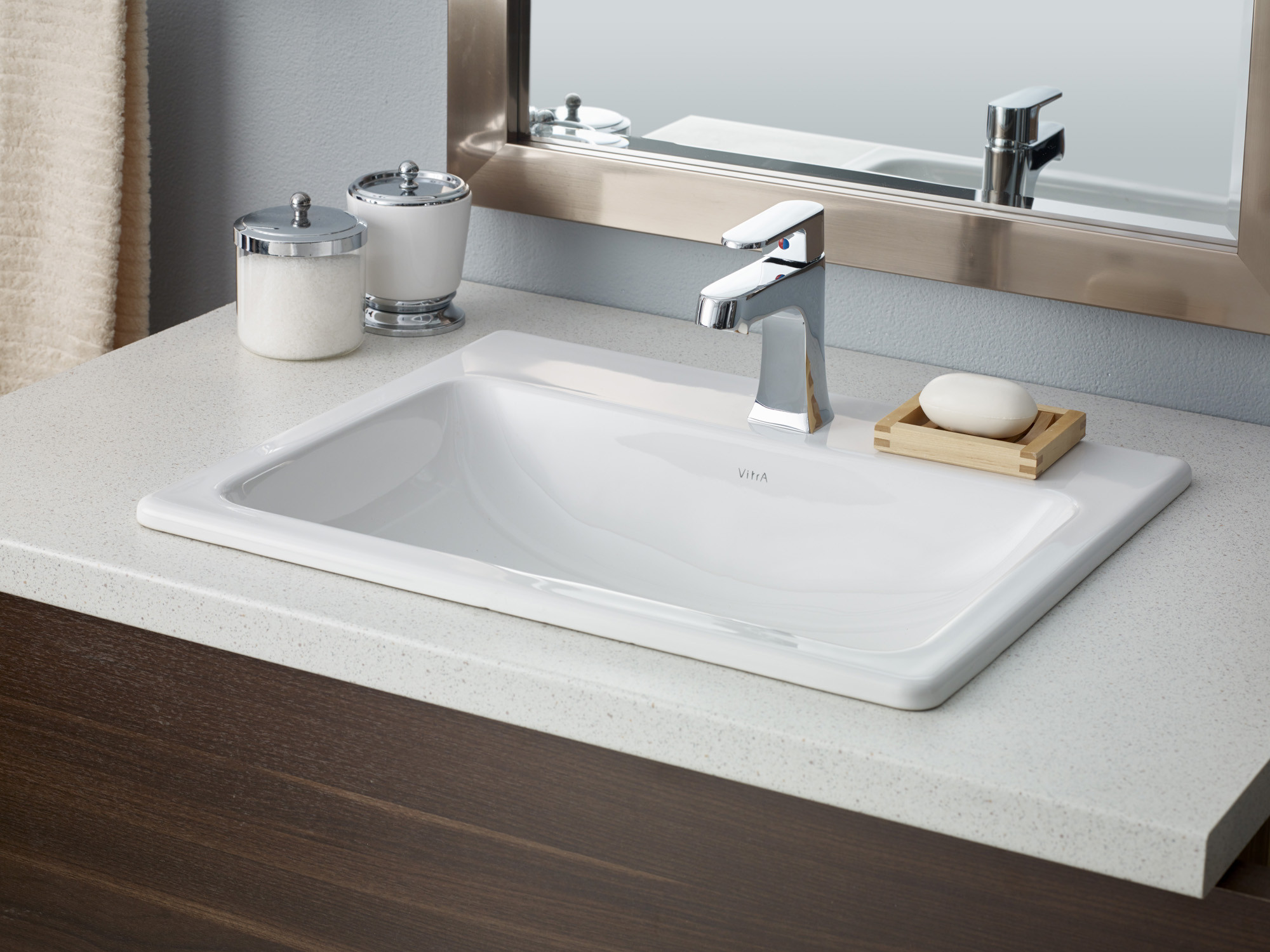 Cheviot 1187-WH-1 Manhattan Drop In Rectangular Bathroom Basin in White