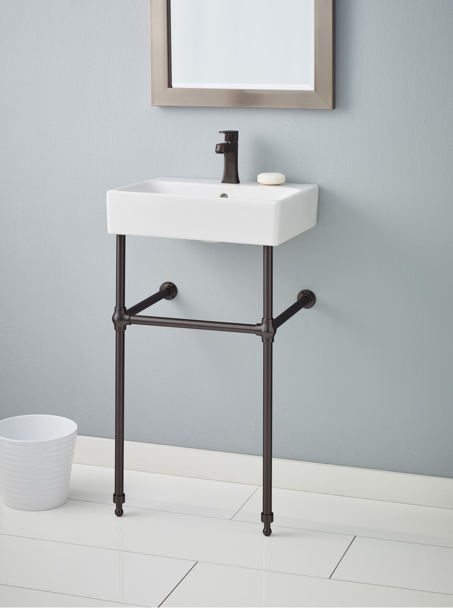 Cheviot 1232-WH-1-575-AB NUO Single Bowl Lavatory Sink with Antique Bronze Console