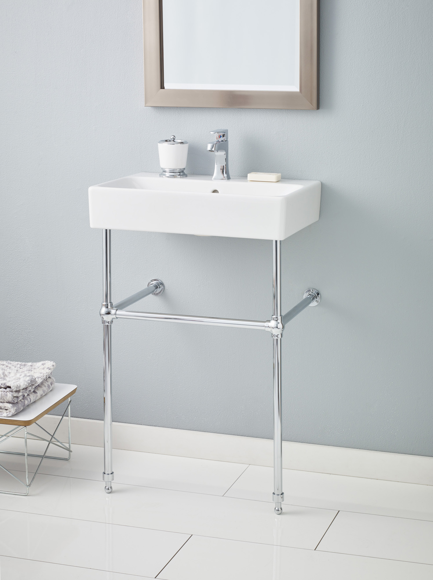 Cheviot 1234-WH-1-575-CH NUO Nuo Fireclay Lavatory Sink with Chrome Console