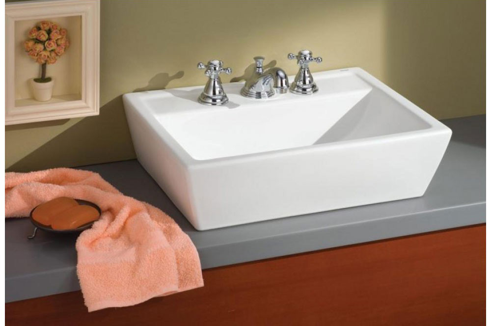 Cheviot 1237-21-WH-8 Sentire 8 Inch Drilling Bathroom Vessel Sink with 8 Inch Drilling