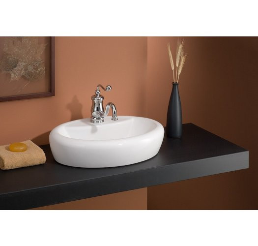 Cheviot 1273-WH-1 Vitreous China Milano Oval Vessel Sink in White