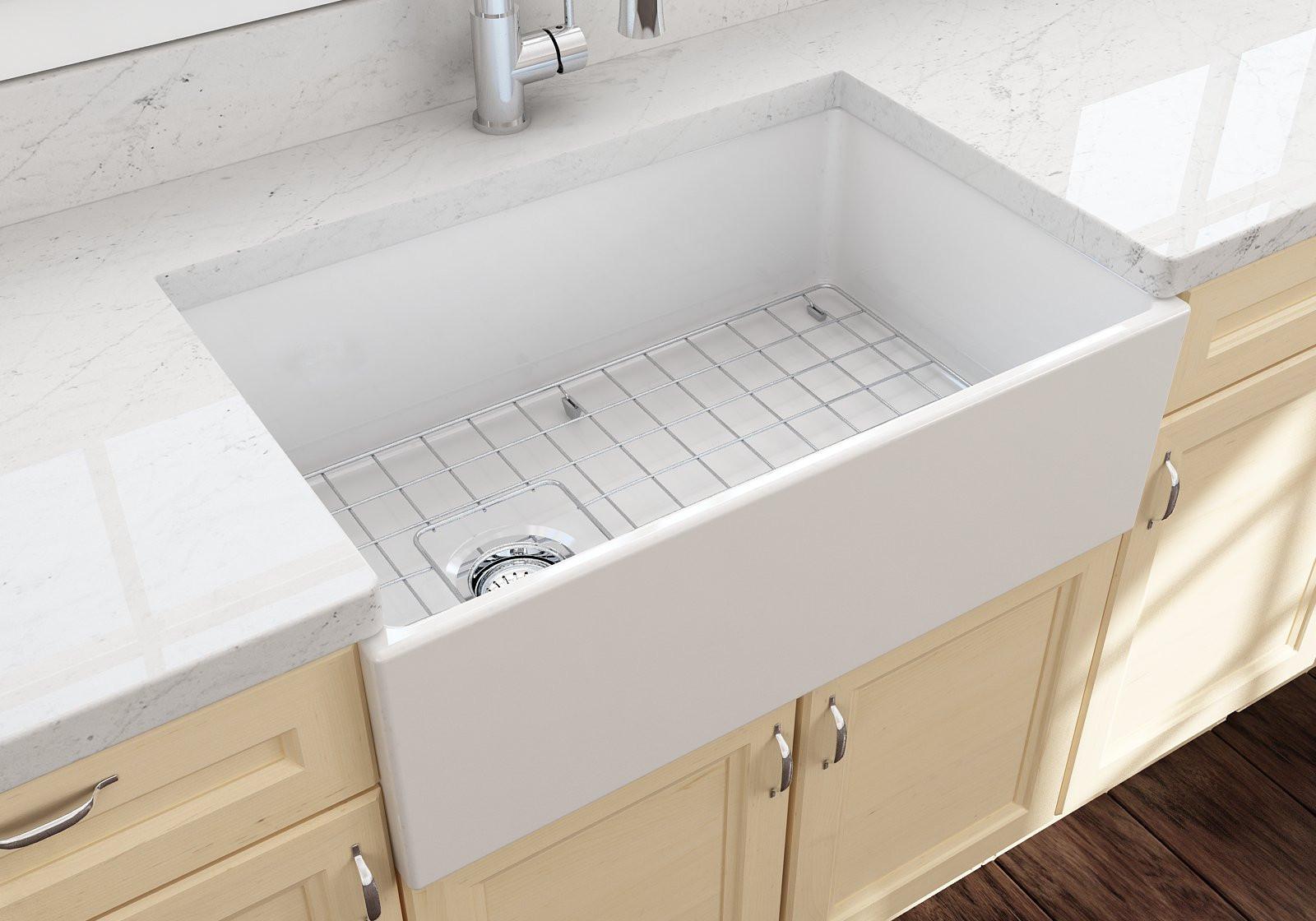 BOCCHI 1346-001-0120 Contempo Single Kitchen Sink w/ Bottom Grid In White