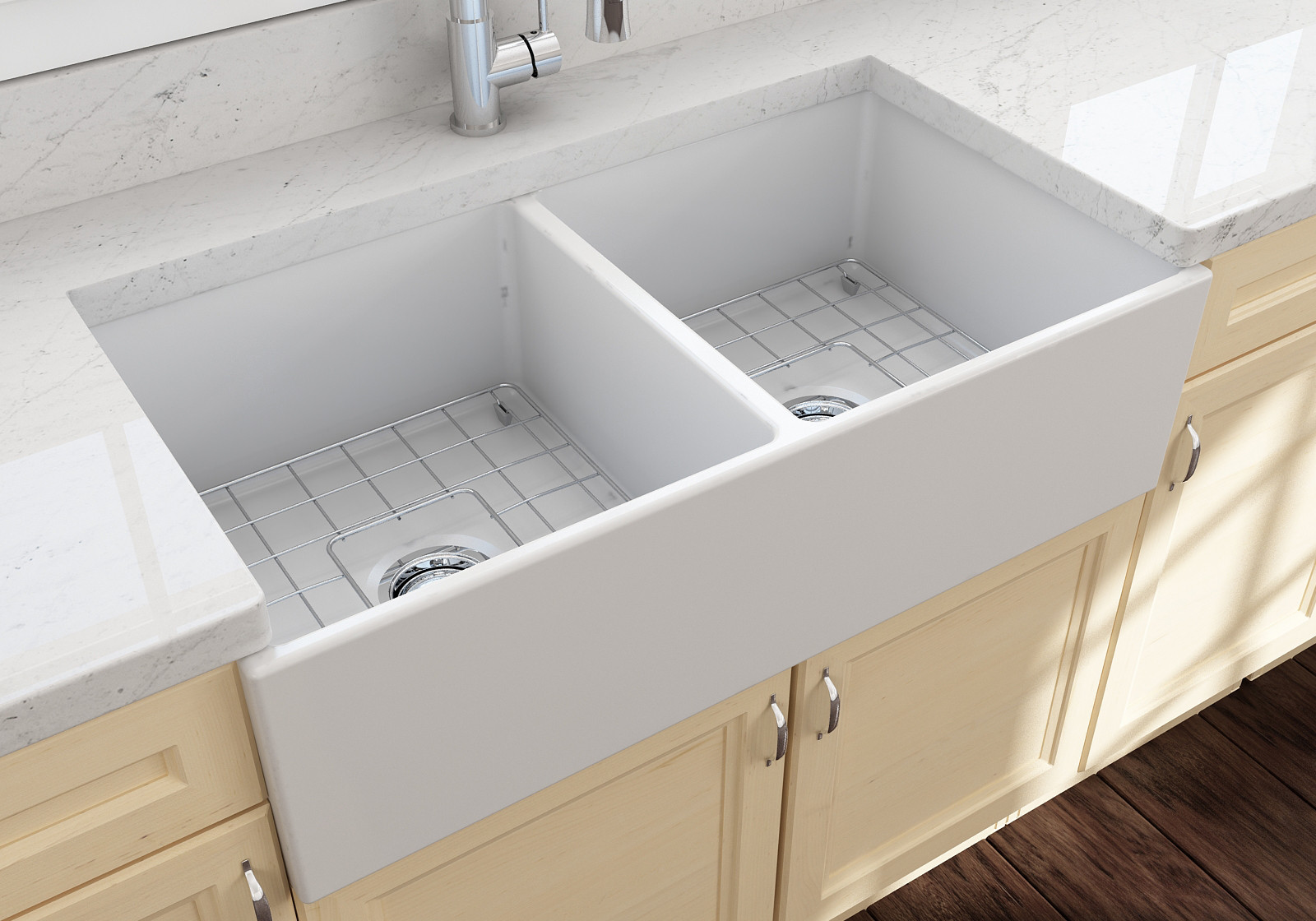 BOCCHI 1350-002-0120 Double Bowl Kitchen Sink With Grid In Matte White