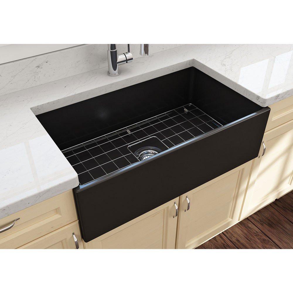 """BOCCHI 1352-004-0120 Contempo 33"""" Single Bowl Kitchen Sink In Matte Black"""