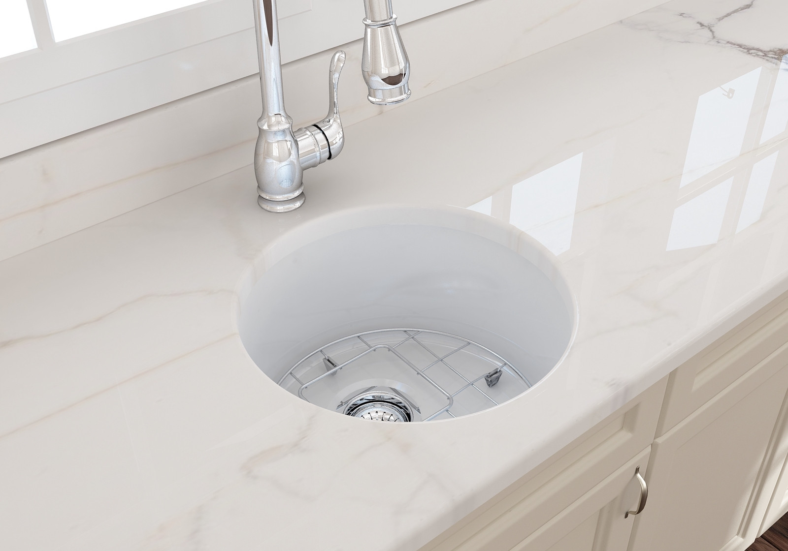 "BOCCHI 1361-001-0120 White Round Undermount Fireclay 18.5"" Kitchen Sink"