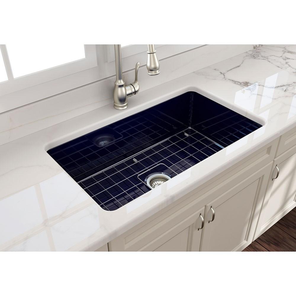 """BOCCHI 1362-010-0120 32"""" Single Kitchen Sink w/ Bottom Grid In Sapphire Blue"""