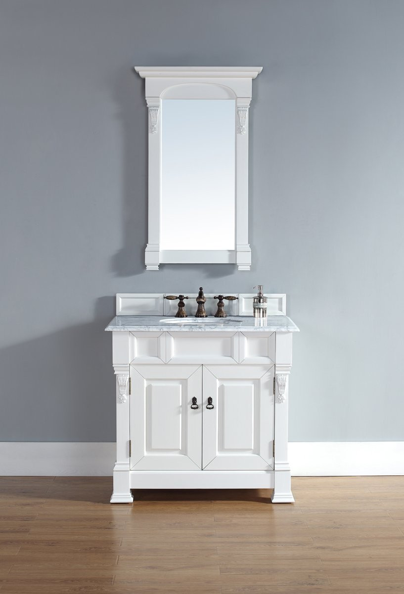 "James Martin 147-114-5541-CAR 36"" One Vanity with Carrera White Stone Top"