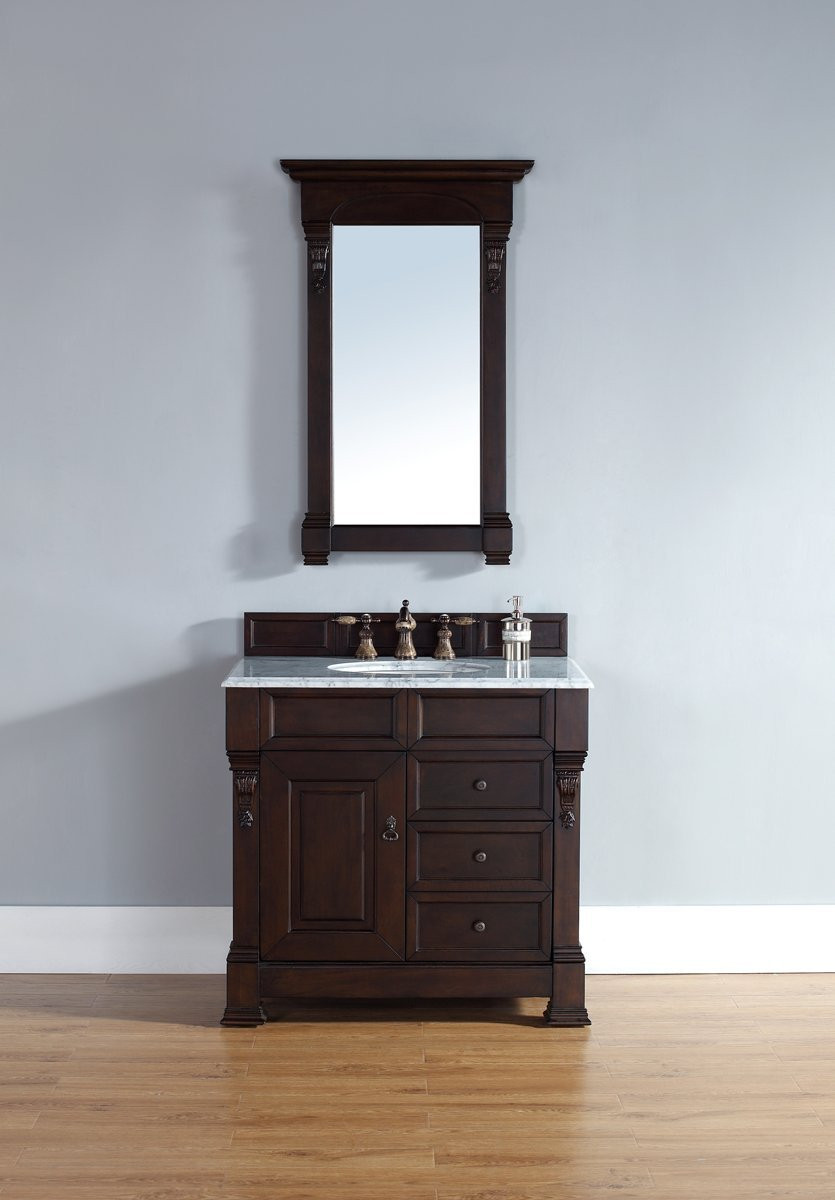 """James Martin 147-114-5566-CAR 36"""" One Vanity with Carrera White Stone Top"""