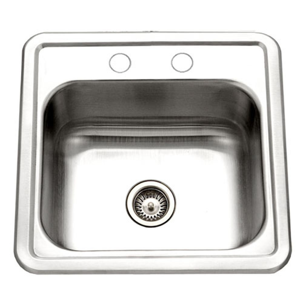 Houzer 1515-6BS-1 Hospitality Series Topmount Stainless Steel 2-Holes Bar/Prep Sink