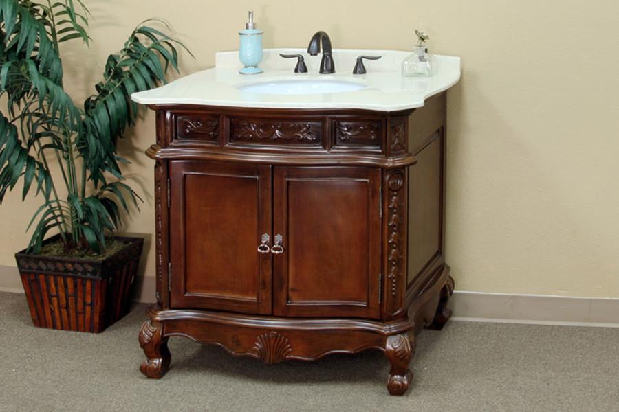 Bellaterra Home 202016A-S 34.6 Inch Single Bathroom Vanity-Wood in Walnut