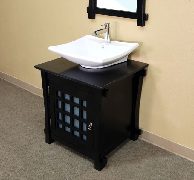 "Bellaterra Home 203012 29.9"" Modern Black Wood Single Bathroom Vanity"