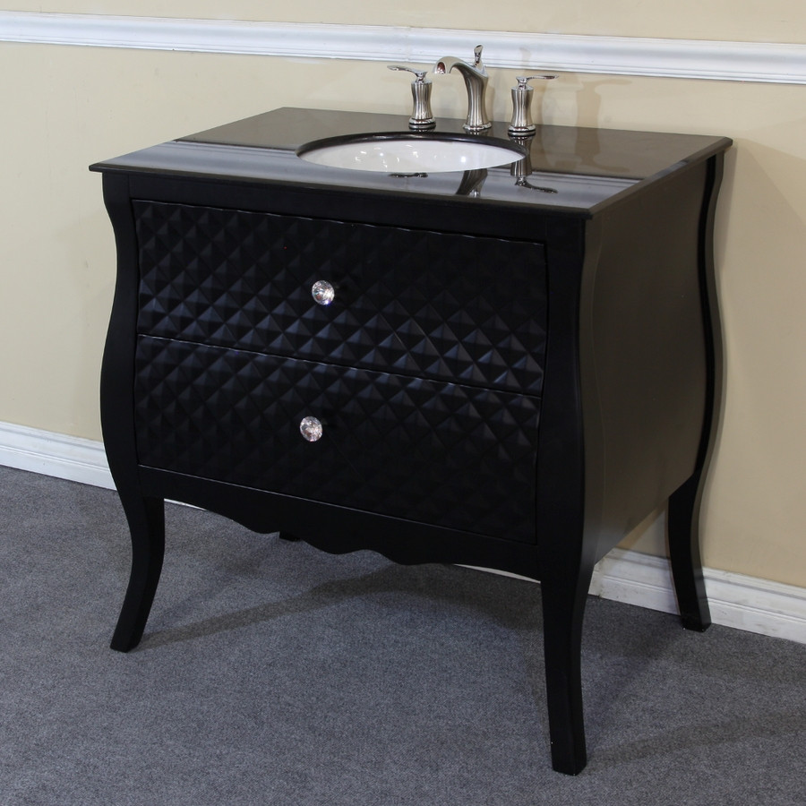 Bellaterra Home 203057B 35.4 Inch Single Bath Vanity with Granite in Black