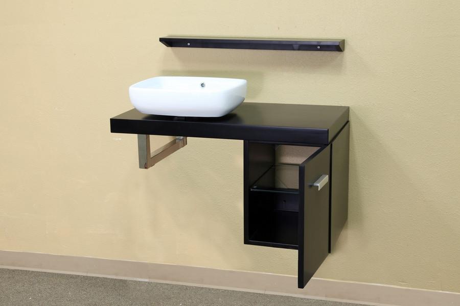 Bellaterra Home 203106 35.4 Inch Solid Wood Single Vanity-Wood Top in Black