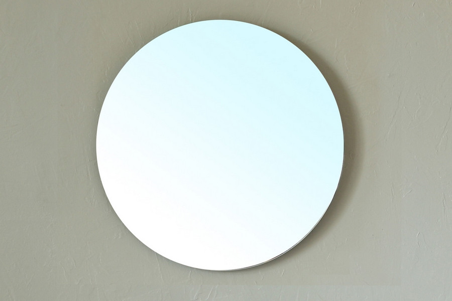 Bellaterra Home 203116-MIRROR Round Beveled Edge Frameless Mirror for Bath