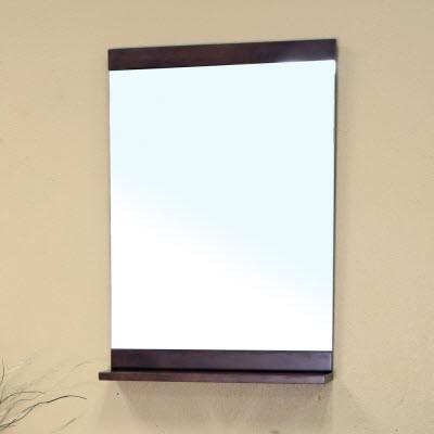 Bellaterra Home 203136-MIRROR Solid Wood Frame Mirror Cabinet Medium Walnut