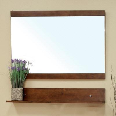 Bellaterra Home 203138-MIRROR Solid Wood Frame Mirror Cabinet Medium Walnut