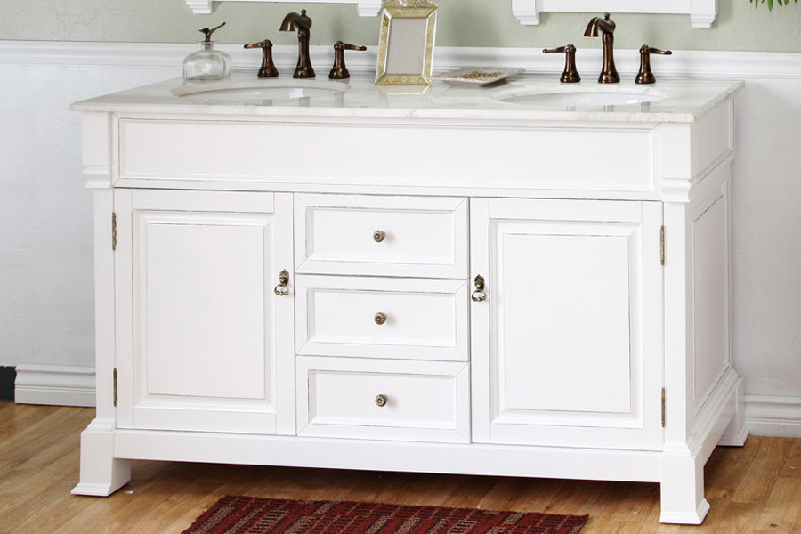 Bellaterra Home 205060-D-WH Wood White Double Vanity with White Marble Top Top