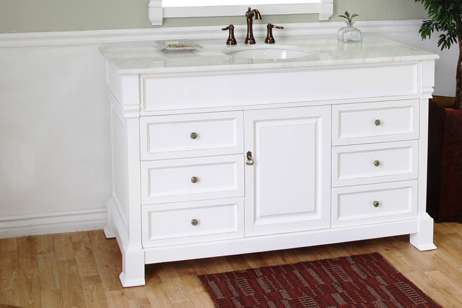 Bellaterra Home 205060-S-WH White Single Bathroom Vanity with White Marble Top