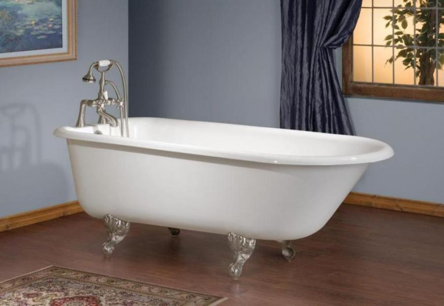 """Cheviot 2093-WW-8 Cast Iron Bathtub with Flat Area Pre-drilled Holes at 8"""""""