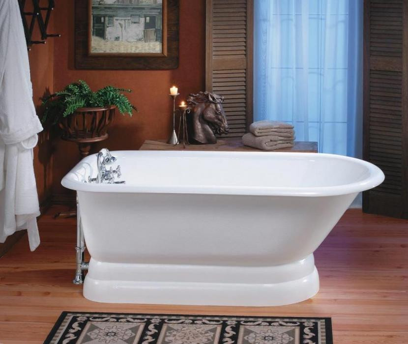 Cheviot 2116-WW Bathtub with Pedestal Base and Faucet Holes in Wall Of Tub