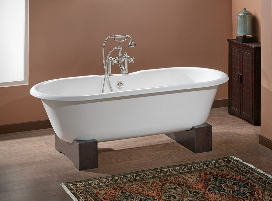 Cheviot 2130-WW-0 White Cast Iron Bathtub with Wooden Base and Flat Area on Rim