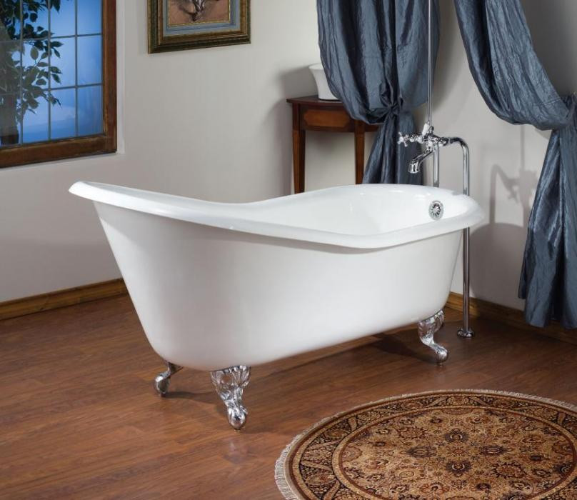 Cheviot 2132-WW Slipper Cast Iron Bathtub with Continuous Rolled Rim