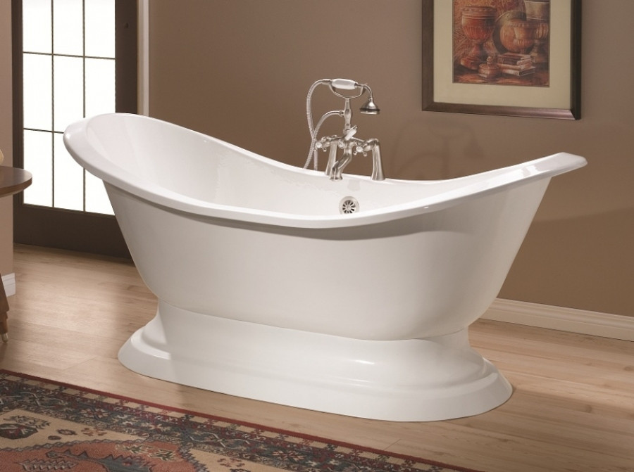 """Cheviot 2151-WW-6 Pedestal Bathtub with Faucet Holes Drilled at 6"""""""