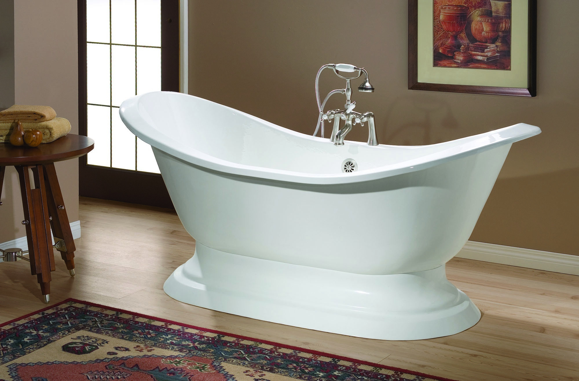 Cheviot 2153-BB-0 Regency Cast Iron Oval Bathtub in Biscuit with Pedestal Base