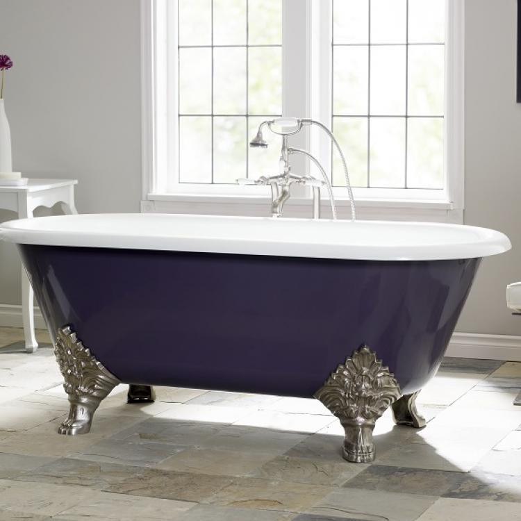Cheviot 2160-WW-0 Carlton Cast Iron Bathtub with Flat Area For Faucet Holes