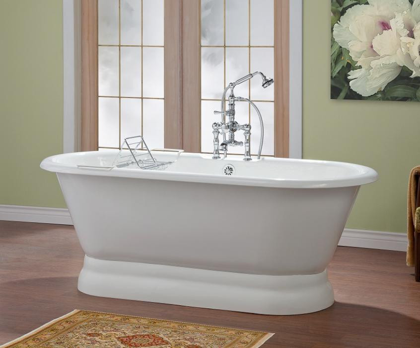 Cheviot 2164-WW-0 Bathtub with Pedestal Base and Flat Area For Faucet Holes