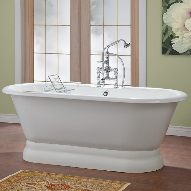 Cheviot 2165-WW Bathtub with Pedestal Base and Continuous Rolled Rim