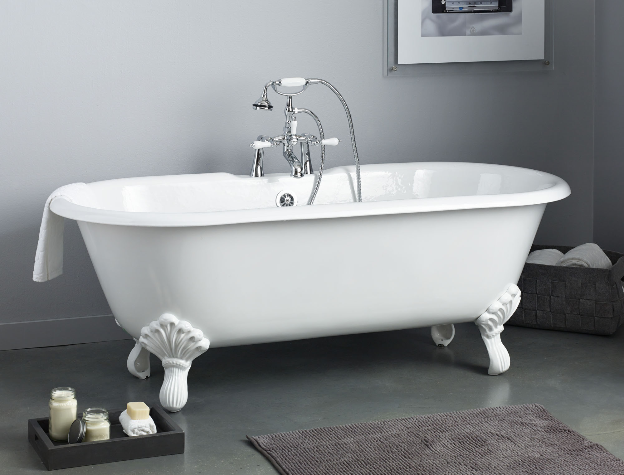 Cheviot 2170-BB-6 Regency Cast Iron Bathtub with Shaughnessy Feet and 6 Inch Drilling