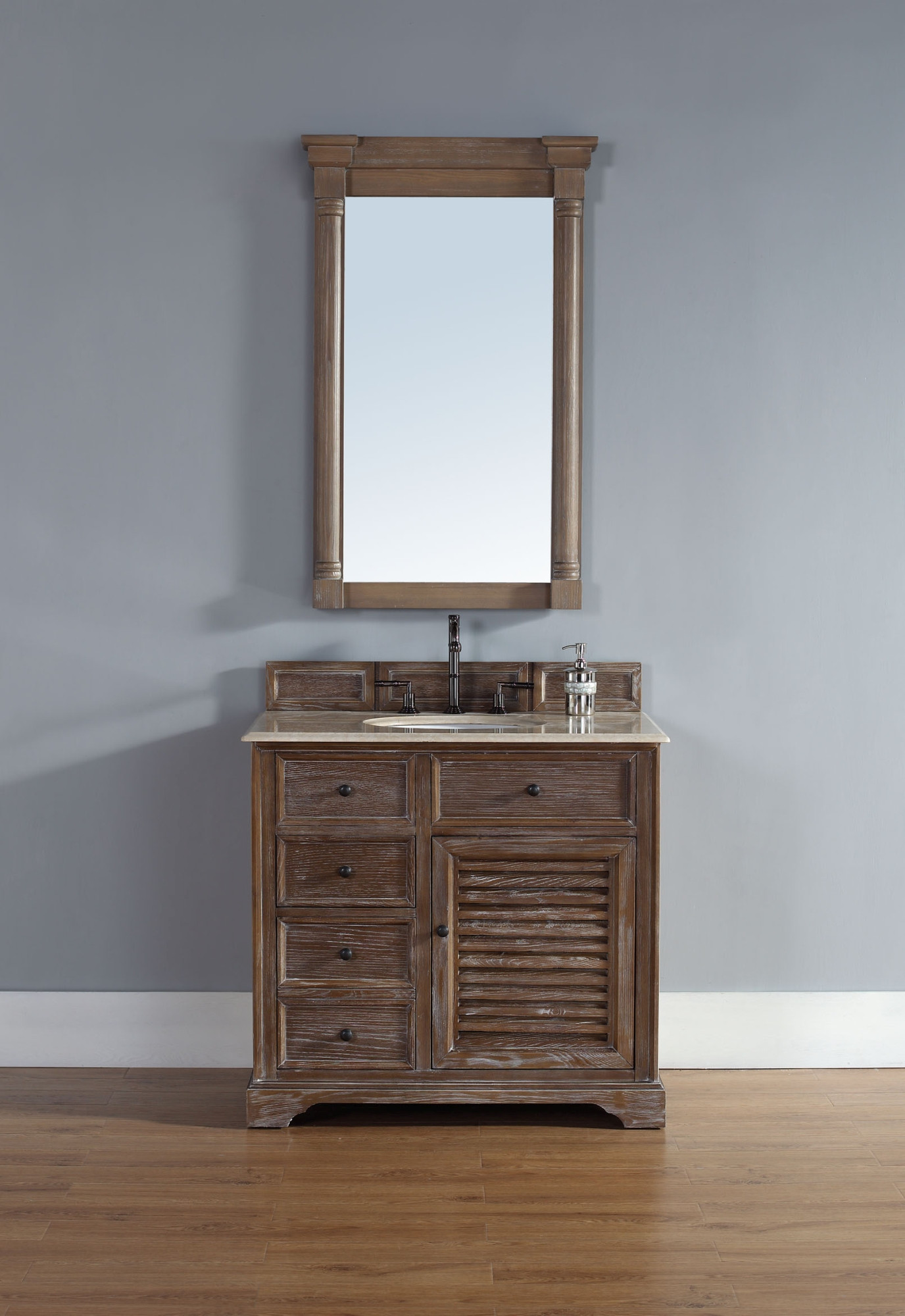 "James Martin 238-104-5511-GLB 36"" Single Vanity with Galala Beige Stone Top"