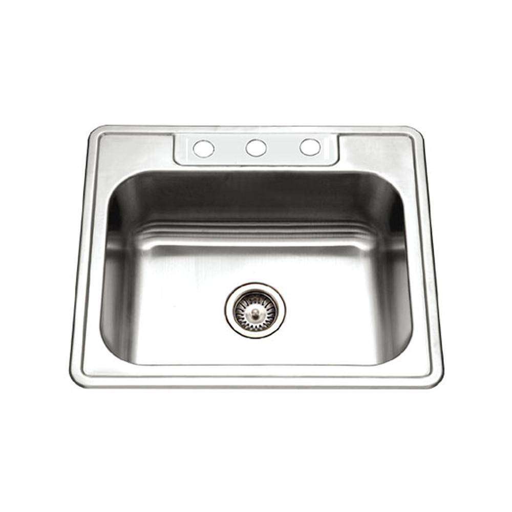 Houzer 2522-8BS3-1 Glowtone Series Topmount Stainless Steel 3-hole Single Bowl Kitchen Sink